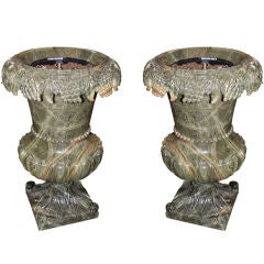 Pair of Green Marble Urns with Carved Fruit at Top C. 1960's