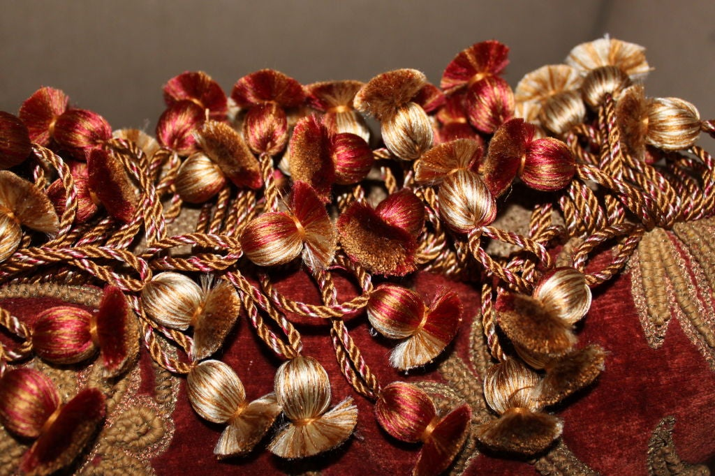 Set Of Three 19th Century Embroidered Velvet Pillows At