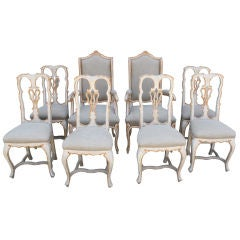 Set of Eight Italian Painted Dining Chairs with Belgium Linen