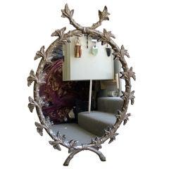 Carved Silver Leaf Oval Acanthus Leaf Mirror