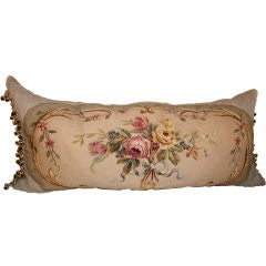 Stunning 19th C. Floral Aubusson Bed Pillow
