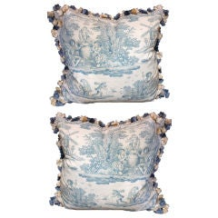 Pair of Vintage Toile Textile Pillows with Tassel Fringe