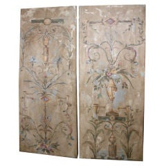 Pair of Italian Hand Painted Canvas Panels