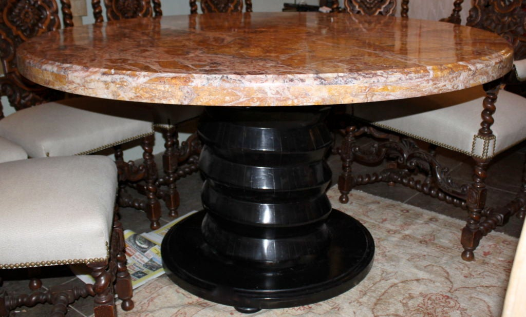 Italian Black Lacquered Carved Table Base with Marble Top  : 842713131974951 from 1stdibs.com size 1024 x 618 jpeg 102kB
