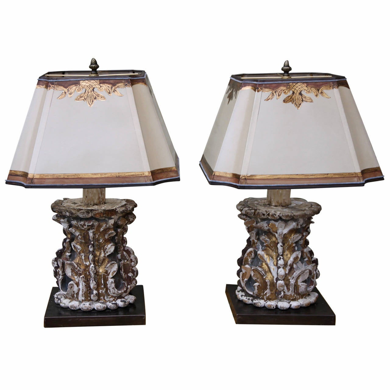 Pair Of Italian Lamps With Parchment Shades At 1stdibs