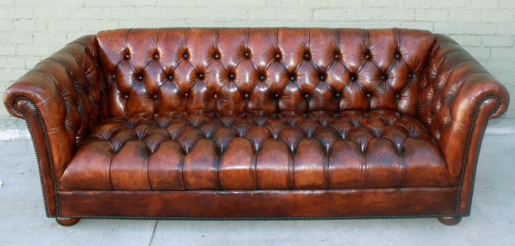 Vintage Leather Tufted Chesterfield Style Sofa C 1930 S