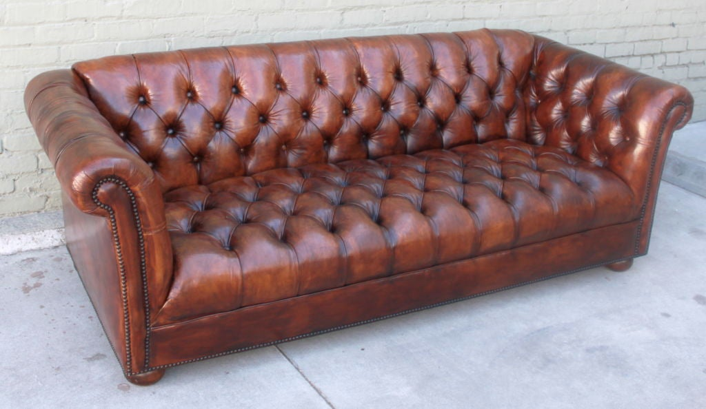 leather tufted sofa sale vintage leather tufted chesterfield style sofa c 1930 s 6896