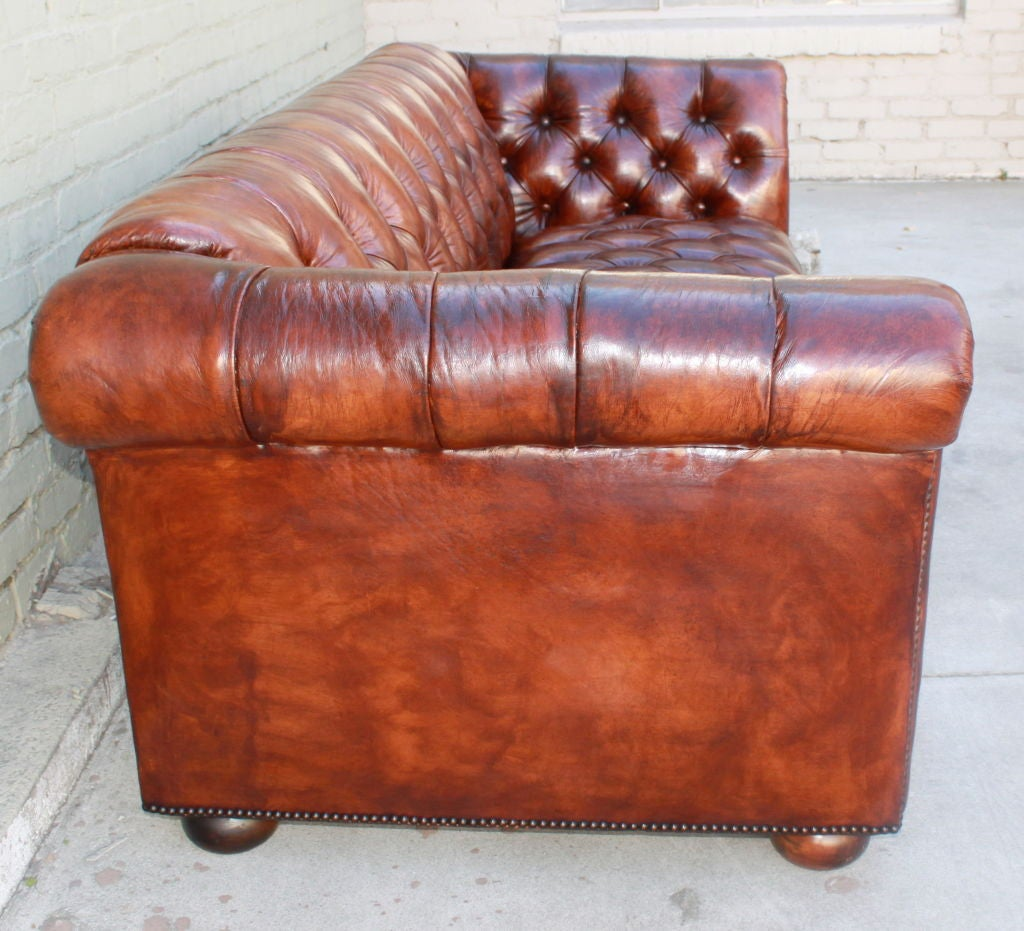 Vintage Leather Tufted Chesterfield Style Sofa C. 1930s at 1stdibs