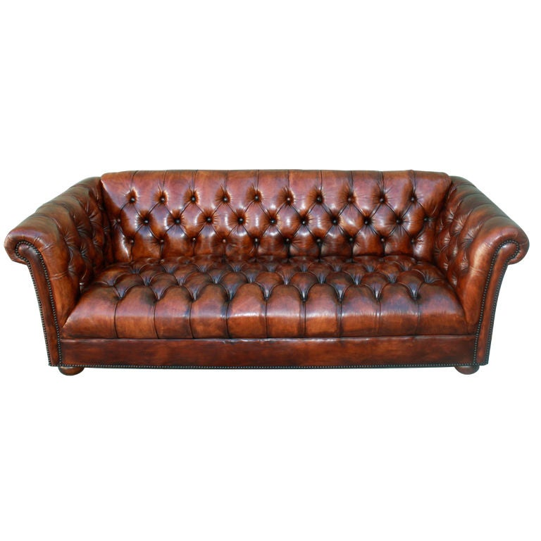 Vintage Leather Tufted Chesterfield Style Sofa C 1930's at 1stdibs