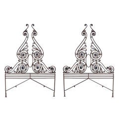 Pair of Wrought Iron Architectural Pieces/Headboards  C. 1920's