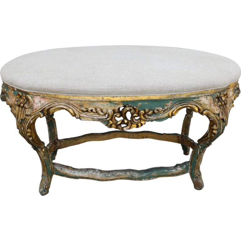 Carved Painted And Gold Gilt Bench With Belgium Linen Upholstery At 1stdibs