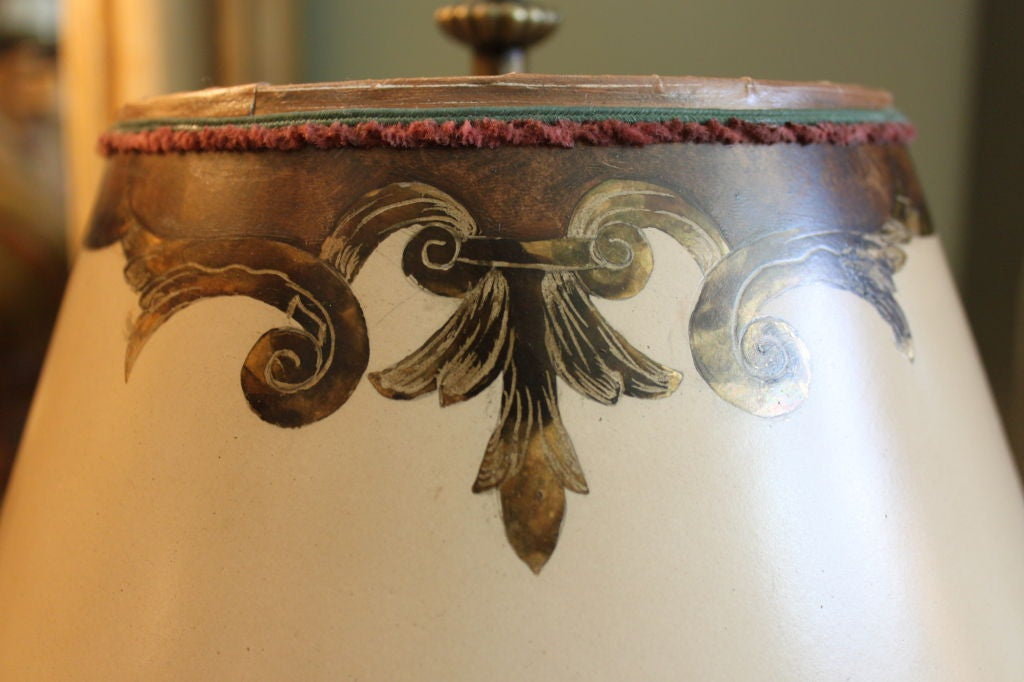 Antique Painted Monkey Lamp With Custom Lamp Shade At 1stdibs
