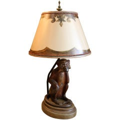 Antique Painted Monkey Lamp with Custom Lamp Shade