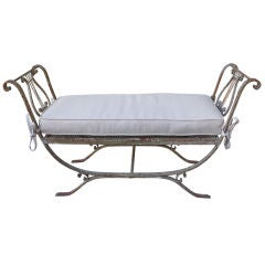 Wrought Iron Painted Lyre Bench with Linen Box Cushion