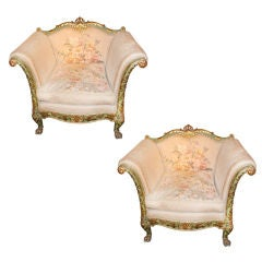 Pair of 19th C. Painted and Parcel Gilt Armchairs