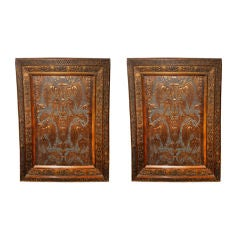Pair of 19th C. Embossed Italian Panels in Carved Frames