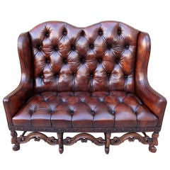 English Carved Leather Tufted Sofa C. 1900's