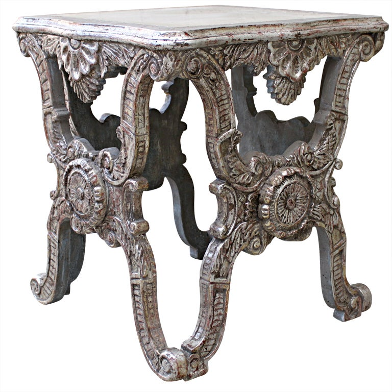 Painted and Silver Gilt X-Frame Table with Marble Top at 1stdibs