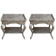 Pair of Carved Silver Leaf Tables, circa 1940s