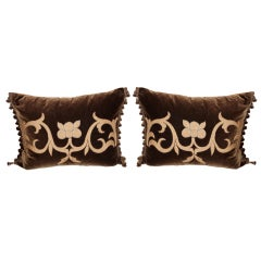 Silk Velvet Appliqued Gold Metallic Pillows, Pair