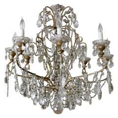 Italian Crystal & Beaded Chandelier C. 1930's