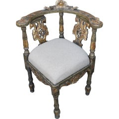 Unique Italian Painted and Parcel Gilt Corner Chair