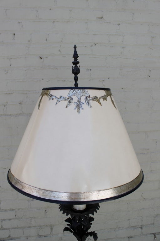 Pair of Wrought Iron Standing Lamps with Custom Shades at 1stdibs