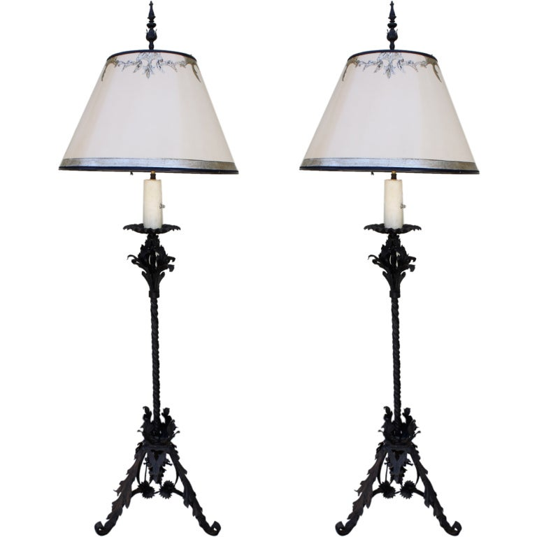 pair of wrought iron standing lamps with custom shades at. Black Bedroom Furniture Sets. Home Design Ideas