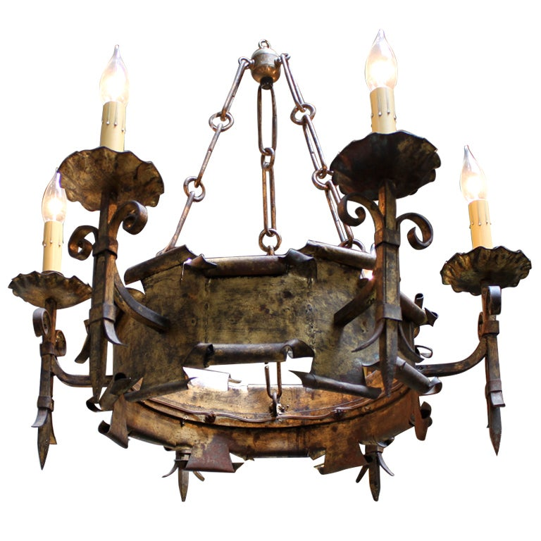 Light Wrought Iron Spanish Chandelier