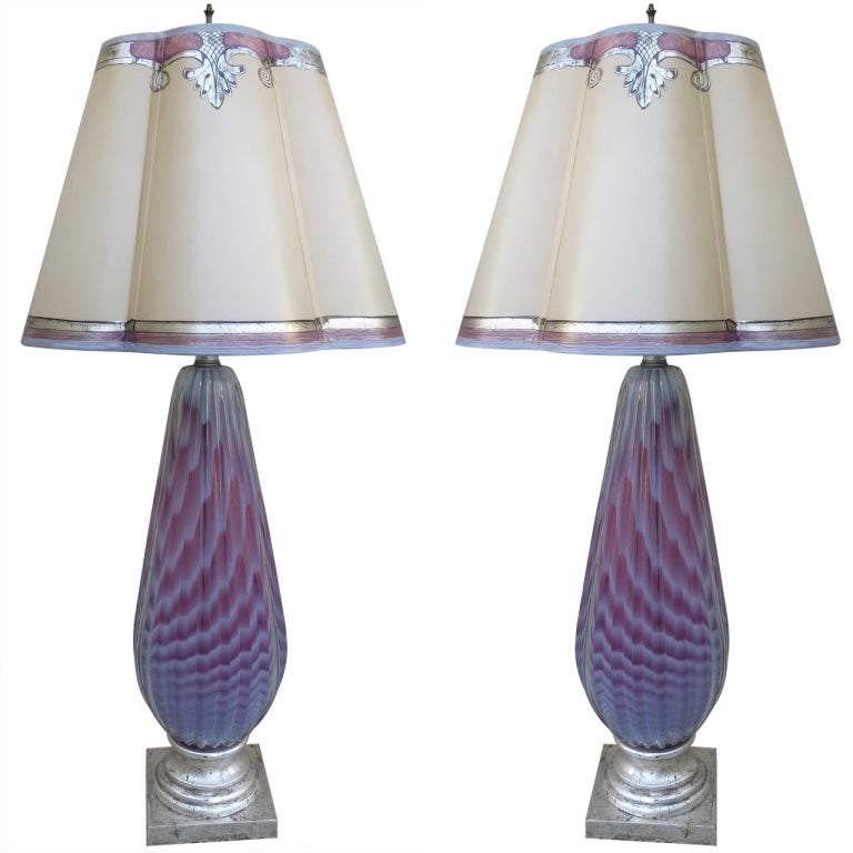 Pair Of Murano Lamps With Parchment Shades For Sale At 1stdibs