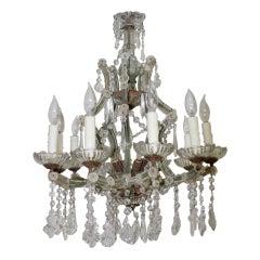 Crystal (8) Light Italian Chandelier C. 1930's