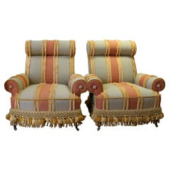 Pair of Vintage Upholstered Chairs with Casters