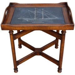 """Vintage Tray Table with Etched Ship """"Wellington"""""""