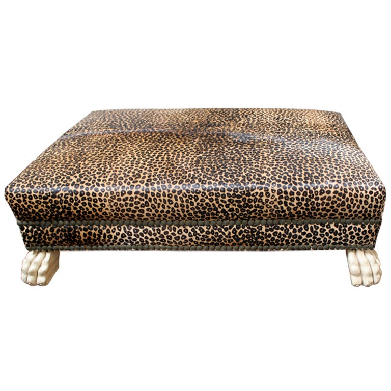 Faux Leopard Upholstered Bench With Lion Paw Feet At 1stdibs