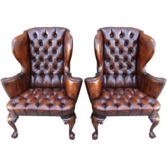 Pair of Leather Tufted Wingback Chairs C. 1920's