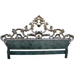 King Size Carved Italian Silver & Painted Headboard C. 1940's