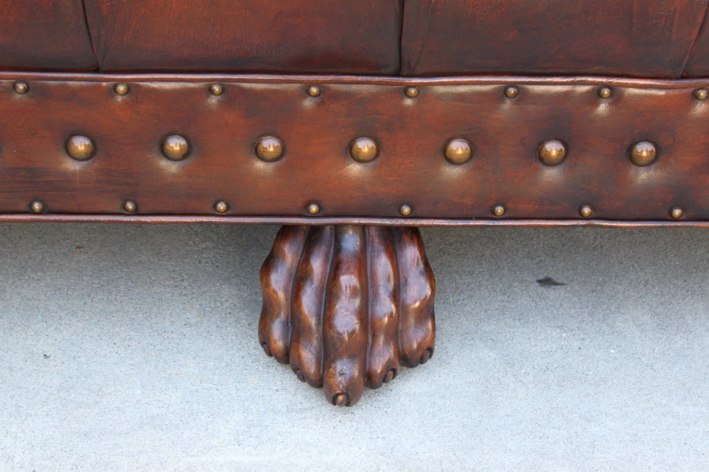 Grand scaled lion paw chesterfield style leather tufted for Decor jewelry chesterfield
