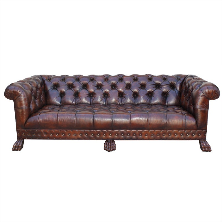 Grand Scaled Lion Paw Chesterfield Style Leather Tufted Sofa
