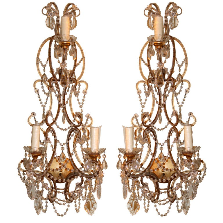 Italian Style Wall Sconces : Pair of Italian Style Gilt Metal and Crystal Sconces at 1stdibs