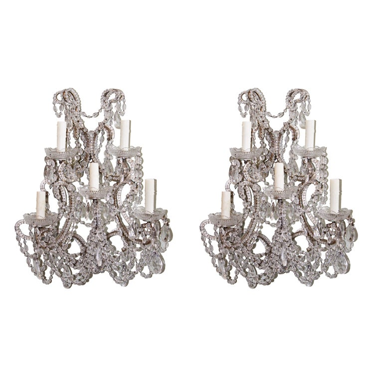 Pair of Crystal Beaded Silver Gilt 5-Light Sconces at 1stdibs