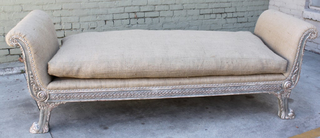 Continental Painted & Silver Gilt Carved Bench C. 1930's 2
