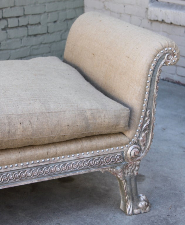 Continental Painted & Silver Gilt Carved Bench C. 1930's 3