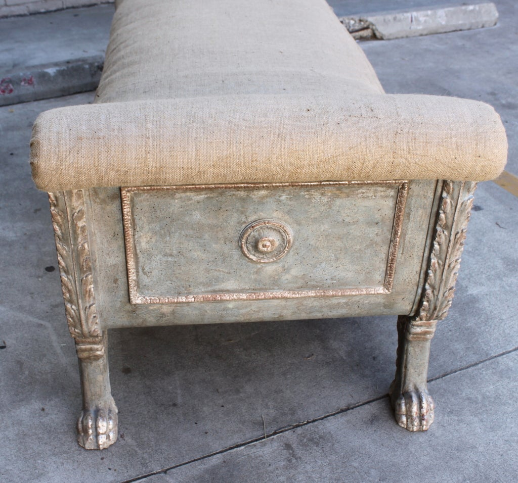 Continental Painted & Silver Gilt Carved Bench C. 1930's 4
