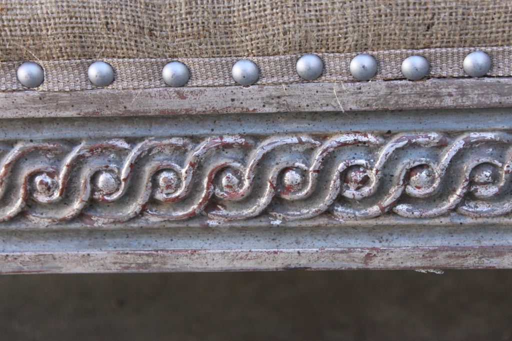 Continental Painted & Silver Gilt Carved Bench C. 1930's 9