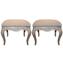 Pair of Italian Painted and Silver Gilt Benches C. 1930's