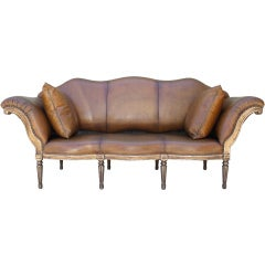 Italian Style Leather Upholstered Sofa