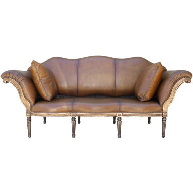 italian style leather upholstered sofa at 1stdibs