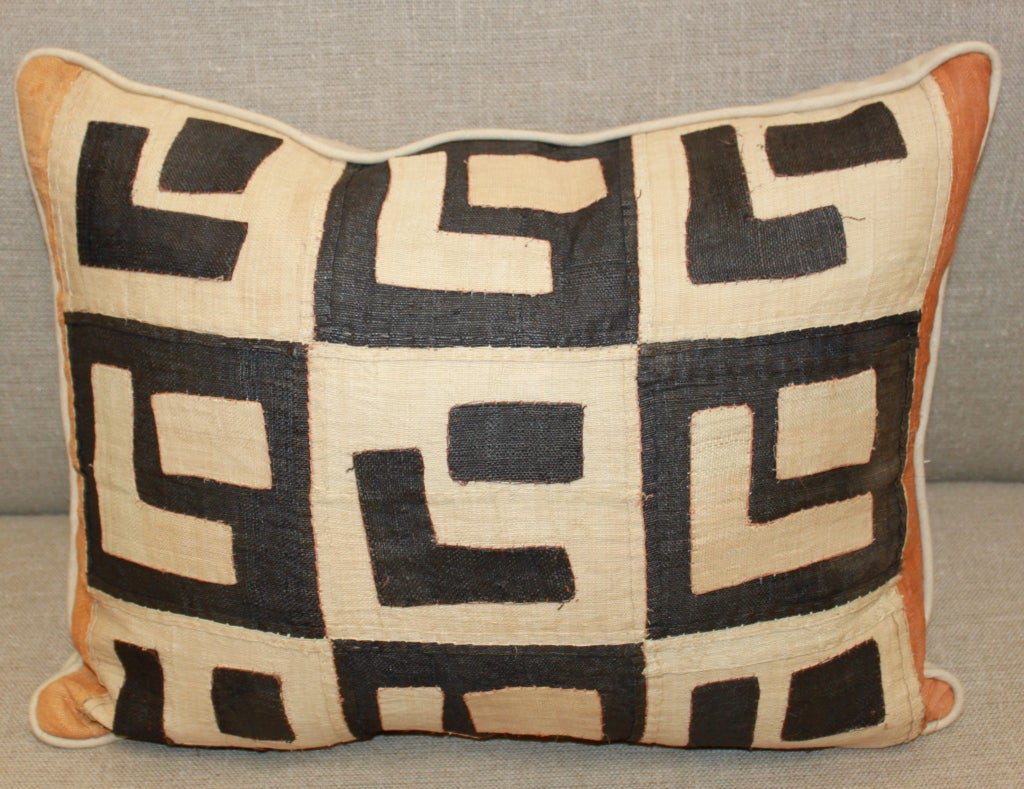African Pair of Vintage Kuba Cloth Pillows