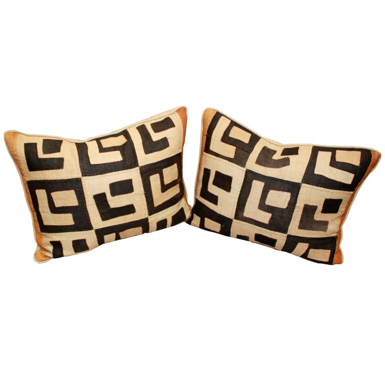 Pair of Vintage Kuba Cloth Pillows