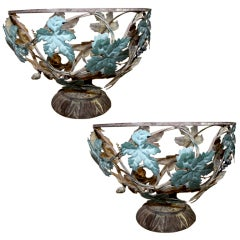 Pair of Wrought Iron Fruit Bowls